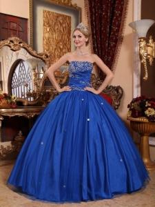 Popular Blue Quinceanera Dress Strapless Taffeta and Tulle Appliques Ball Gown