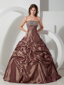 Popular Brown Pick-ups Quinceanera Dress Strapless Taffeta Beading