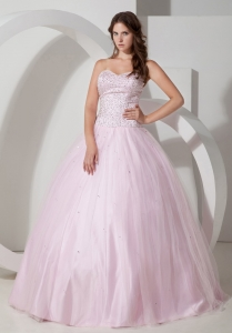 Pretty Baby Pink Sweetheart Quinceanera Dress with Beading