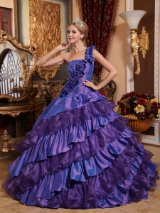 Remarkable Purple Quinceanera Dress One Shoulder Taffeta and Organza Hand Made Flowers Ball Gown
