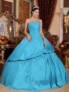 Romantic Teal Quinceanera Dress Strapless Taffeta Beading Ball Gown Quinceanera Dress