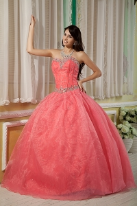Sexy Watermelon Ball Gown 15 Quinceanera Dress Sweetheart Organza Beading Floor-length