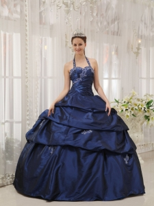 Simple Navy Blue Quinceanera Dress Halter Taffeta Appliques Ball Gown
