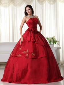 Wine Red Ball Gown Strapless Floor-length Taffeta Hand Flowers Quinceanera Dress