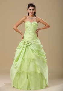 Yellow Green Hand Made Folwers and Ruched Bodice In Indianapolis For Quinceanera Dress