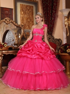 Discount Hot Pink Quinceanera Dress One Shoulder Organza Beading and Pick-ups Ball Gown