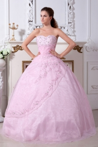Baby Pink Quinceanera Dress A-line / Princess Sweetheart Organza Embroidery Floor-length