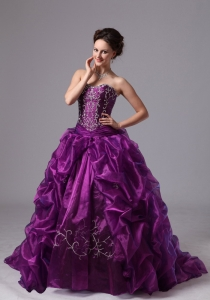 Embroider and Pick-ups Sweep Train For Eggplant Purple Military Ball Gowns For Custom Made In Griffin Georgia