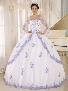 Lilac Embroidery Decorate On White Organza Square Neckline Quinceanera Dress