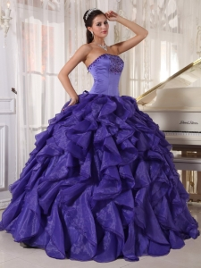 Low Price Purple Quinceanera Dress Strapless Satin and Organza Beading Ball Gown