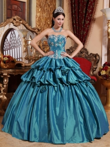 Luxurious Teal Quinceanera Dress Sweetheart Taffeta Appliques Ball Gown