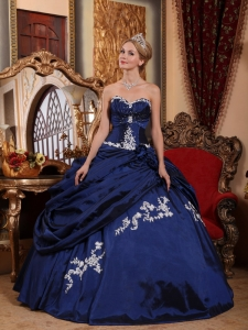 Modest Blue Quinceanera Dress Sweetheart Taffeta Appliques and Pick-ups Ball Gown