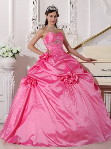 Modest Rose Pink Quinceanera Dress Sweetheart Taffeta Beading and Hand Made Flowers Ball Gown