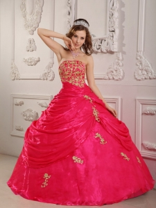 Perfect Coral Red Quinceanera Dress Strapless Organza Appliques Ball Gown