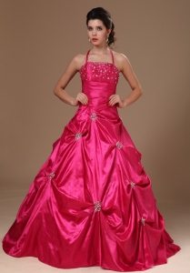 Pick-ups Halter A-line Hot Pink Taffeta Military Ball Gowns For Custom Made