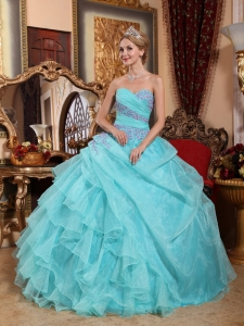Popular Aqua Blue Quinceanera Dress Sweetheart Organza Appliques and Ruch Ball Gown