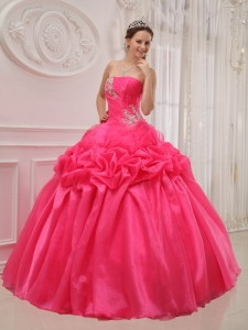 Popular Hot Pink Quinceanera Dress Strapless Organza and Taffeta Ruch and Beading Ball Gown