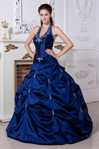 Royal Blue A-line / Princess Halter Sweet 16 Dress Taffeta Embriodery Floor-length