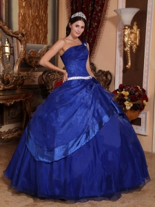 Top Seller Royal Blue Quinceanera Dress One Shoulder Organza Beading Ball Gown