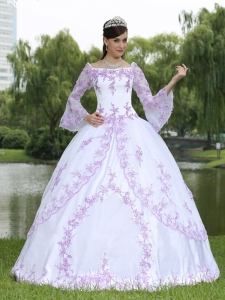 Wholesale Embroidery Long Sleeves Sweet 16 Party Dress With Square Neckline
