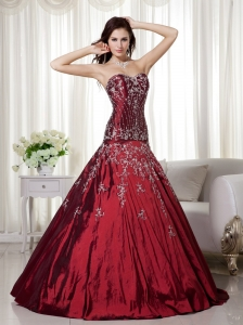 Wine Red A-line Sweetheart Floor-length Taffeta Beading and Embroidery Quinceanera Dress