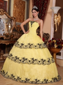 Strapless Lace Appliques Cake Quinceanera Dress Yellow and Black ...