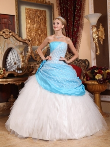 Beautiful Aqua Blue and White Quinceanera Dress Strapless Taffeta and Tulle Hand Made Flowers Ball Gown