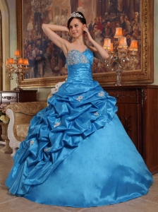 Blue Ball Gown Sweetheart Floor-length Beading Taffeta Quinceanera Dress