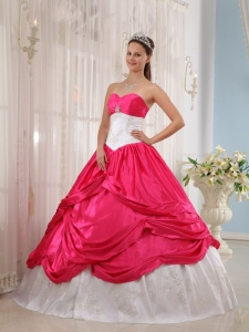 Coral Red and White Ball Gown Sweetheart Floor-length Taffeta Appliques Quinceanera Dress