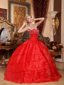 Discount Red Quinceanera Dress Strapless Organza Appliques Ball Gown