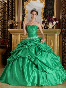 Discount Green Quinceanera Dress Strapless Taffeta Beading Ball Gown