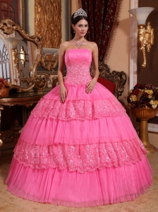 Lovely Rose Pink Quinceanera Dress Strapless Organza Lace Appliques Ball Gown