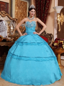 Perfect Aqua Blue Quinceanera Dress Sweetheart Taffeta Appliques Ball Gown