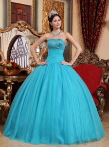 Popular Teal Quinceanera Dress Strapless Tulle Embroidery with Beading Ball Gown