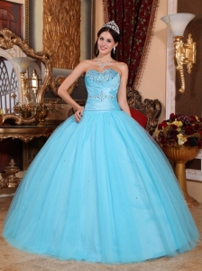 Pretty Baby Blue Quinceanera Dress Sweetheart Tulle and Taffeta Beading and Ruch Ball Gown