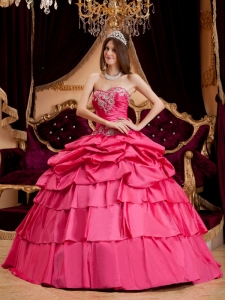 Pretty Hot Pink Quinceanera Dress Sweetheart Taffeta Appliques Ball Gown