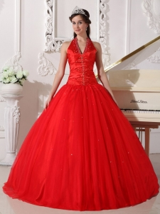 Red Quinceanera Dress Halter Tulle Beading Ball Gown