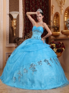 The Most Popular Aqua Blue Quinceanera Dress Sweetheart Organza Beading Ball Gown