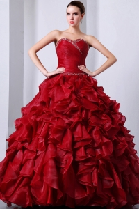 Wine Red Sweet16 Dress Beading and Rufffles A-Line / Princess Sweetheart Floor-length Organza