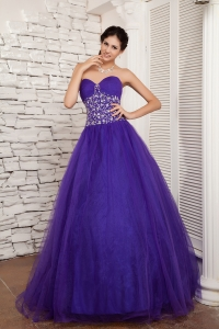 2013 New Style Purple A-line Sweetheart Quinceanera Dress Tulle Beading Floor-length
