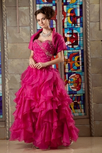 Hot Pink A-line Prom Dress Sweetheart Beading Floor-length Organza