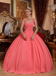 New Watermelon Sweet 16 Dress V-neck Chiffon Beading Ball Gown