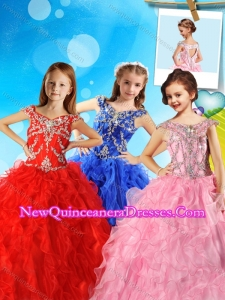 Beautiful Beaded and Ruffled Cute Little Girl Pageant Dress with Off the Shoulder
