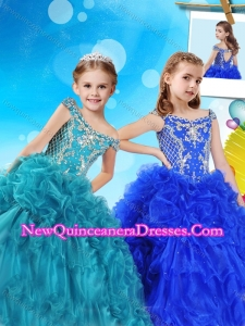 Luxurious Off the Shoulder Cap Sleeves Cute Little Girl Pageant Dress with Beading and Ruffles
