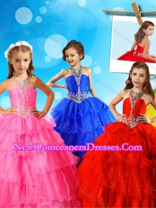 New Arrivals Halter Top Big Puffy Cute Little Girl Pageant Dress with Beading and Ruffled Layers