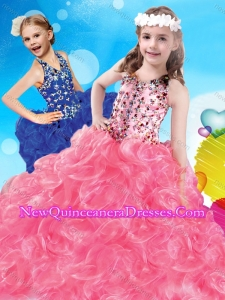 2016 Fashionable V Neck Big Puffy Little Girl Pageant Dress with Beading and Ruffles