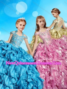 2016 Gorgeous Organza Beaded Bodice Little Girl Pageant Dress with Open Back