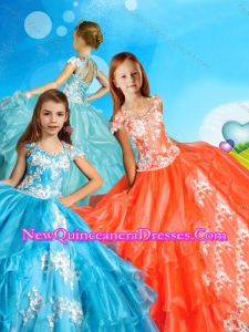 2016 Lovely Applique and Beaded Little Girl Pageant Dress with Cap Sleeves