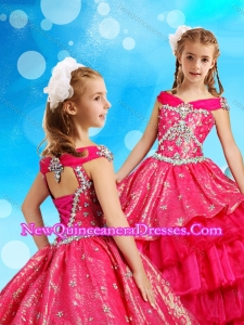 2016 Off the Shoulder Red Little Girl Pageant Dress in Organza and Sequins