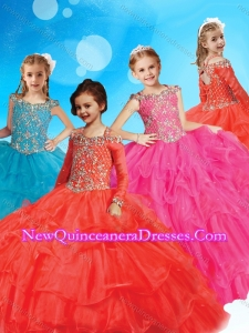 New Style Straps Long Sleeves Little Girl Pageant Dress with Beading and Ruffled Layers